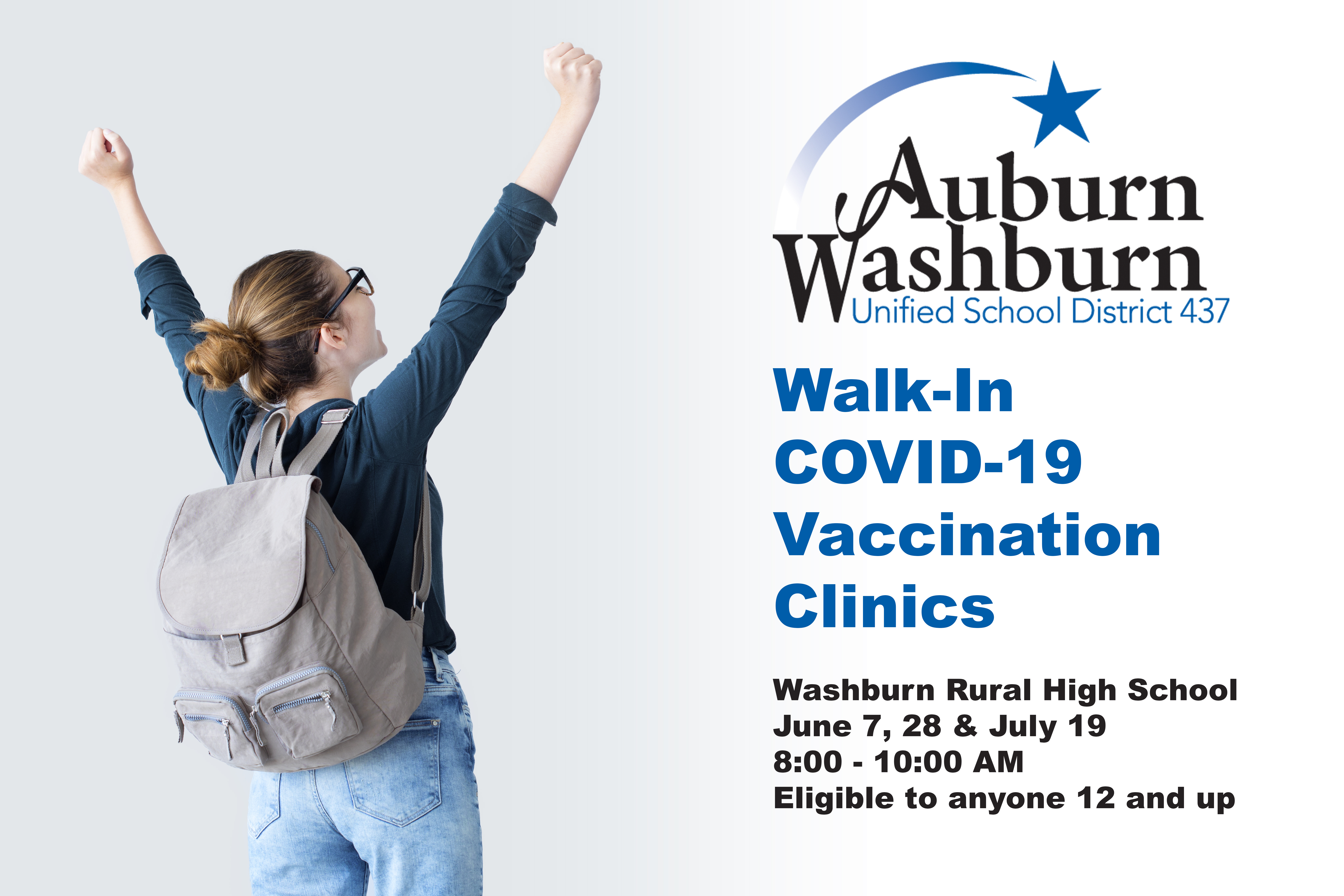 Washburn Rural High School. June 7, June 28, and July 19, 8:00 to 10:00 AM. Eligible to anyone 12 and up.