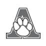 Auburn Elementary logo - letter and mascot (grayscale)