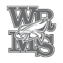 Washburn Rural Middle School logo - letter and mascot (grayscale)