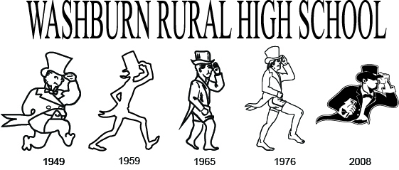Image shows the progression of the Washburn Rural High School mascot from 1949-2008.